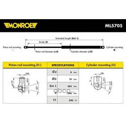 Упругий элемент, капот (Monroe) ML5705