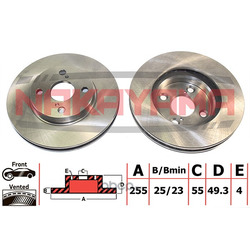 Торм.диск передн. вент. Toyota Corolla E12U 1.6 02 (NAKAYAMA) Q4356