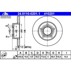 Тормозной диск (Ate) 24011002011