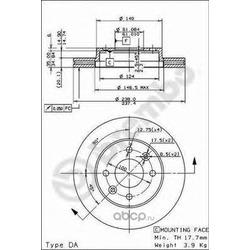 Диск тормозной передний вентилируемый (Brembo) 09314814