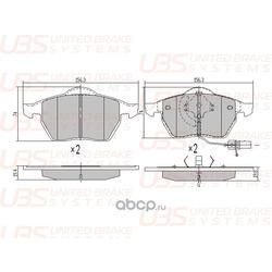 Колодки тормозные, комплект, передние (UBS) B1102005