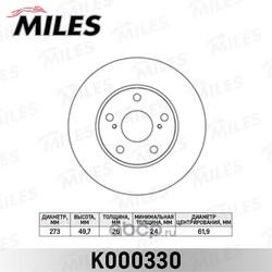Диск тормозной TOYOTA AURIS 07- (пр-во Великобритания) передний вент.D=273мм. (Miles) K000330