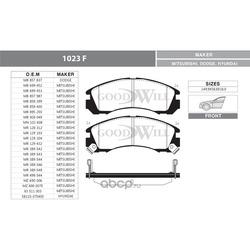 Колодки тормозные дисковые передние, комплект (Goodwill) 1023F