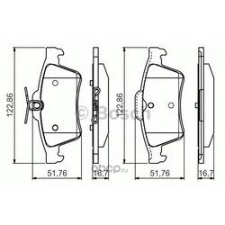 Колодки тормозные дисковые, комплект (Bosch) 0986495055