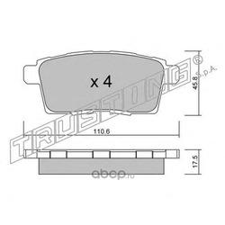 Комплект тормозных колодок, дисковый тормоз (Trusting) 8900