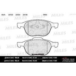 Колодки тормозные FORD FOCUS II 04-/III 10-/MAZDA 3 03-/VOLVO S40 04- передние (Miles) E100001