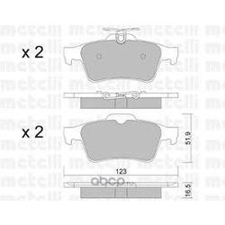 Комплект тормозных колодок, дисковый тормоз (Metelli) 2203371