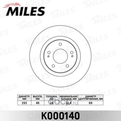 Диск тормозной MITSUBISHI OUTLANDER 03>/CITROEN C-CROSSER/PEUGEOT 4007 пер.вент. (Miles) K000140