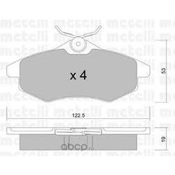 Комплект тормозных колодок, дисковый тормоз (Metelli) 2203280