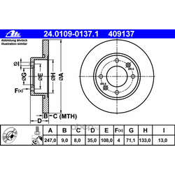 Тормозной диск (Ate) 24010901371