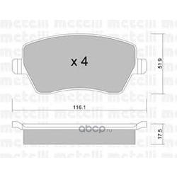 Колодки тормозные дисковые, комплект (Metelli) 2204850