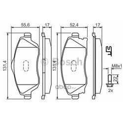 Комплект тормозных колодок, дисковый тормоз (Bosch) 0986424527