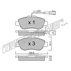 Комплект тормозных колодок, дисковый тормоз (Trusting) 6541