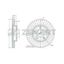 Диск торм. перед. Mazda 3 I II 03- Mazda 5 I II 05- (Zekkert) BS5252
