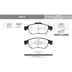 Колодки тормозные дисковые передние, комплект (Goodwill) 1083F