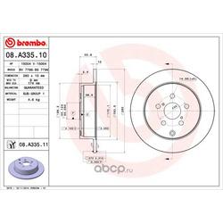 Тормозной диск (Brembo) 08A33510