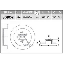 ДИСК ТОРМОЗНОЙ (Sangsin brake) SD1052