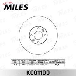 Диск тормозной PEUGEOT 308/3008/5008 07- передний вент.D=302мм. (Miles) K001100