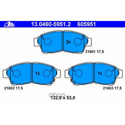 Комплект тормозных колодок, дисковый тормоз (Ate) 13046059512