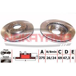 Торм.диск передний вент. Kia Cerato 04- (275x26x4) (NAKAYAMA) Q4717