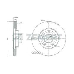 Диск торм. перед. Mazda 3 I II 03- Mazda 5 I II 05- (Zekkert) BS5253