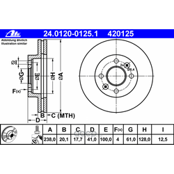 Диск тормозной вентилируемый (Ate) 24012001251