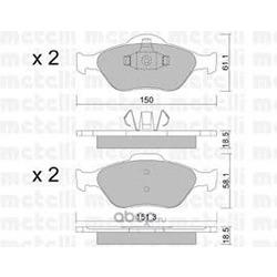 Комплект тормозных колодок, дисковый тормоз (Metelli) 2203160