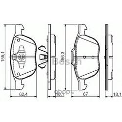 Комплект тормозных колодок, дисковый тормоз (Bosch) 0986495023