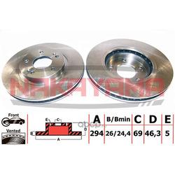 Торм.диск передн. вент. Hyundai Santa Fe 00- (294x (NAKAYAMA) Q4355