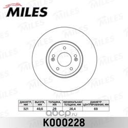 Диск тормозной HYUNDAI SANTA FE (SM) 05-06/(CM) 06- передний вент.D=321мм. (Miles) K000228
