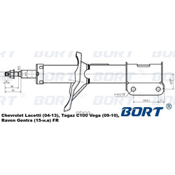 Стойка амортизационная газомасляная передняя правая (BORT) G22045103R