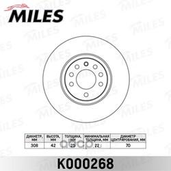 Диск тормозной OPEL ASTRA H/MERIVA B/ZAFIRA 00-/SAAB 9-3 02- передний вент. (Miles) K000268