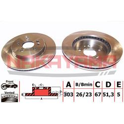 Тормозной диск передний (вент.) MB MW163 98-05 (30 (NAKAYAMA) Q4932