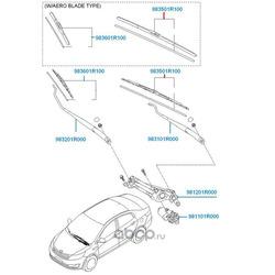 Щётка стеклоочистителя, передняя левая (Hyundai-KIA) 983501R100