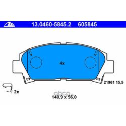 Комплект тормозных колодок, дисковый тормоз (Ate) 13046058452