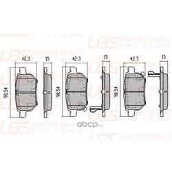 Колодки тормозные, комплект, задние (UBS) BP1110002