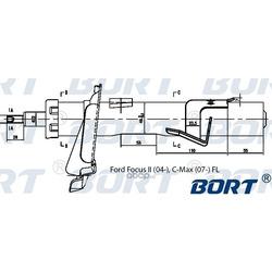 Стойка амортизационная газомасляная передняя левая (BORT) G22252055L