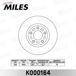 Диск тормозной MAZDA 3 2.0 03-/MAZDA 5 R16/17/18 05- передний вент. (Miles) K000164