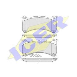 Комплект тормозных колодок, дисковый тормоз (Icer) 182014