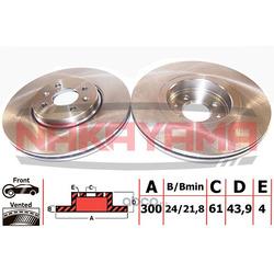 Торм. диск передний вент. RENAULT SCENIC, GRAND SC (NAKAYAMA) Q4874