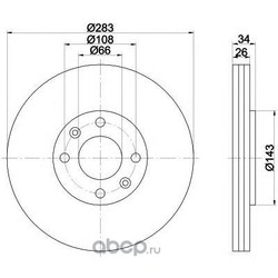 Диск тормозной вентилируемый (Mintex) MDC1492