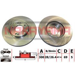 Торм.диск передний вент. Hyundai i30 07- (300x28x5) (NAKAYAMA) Q4710
