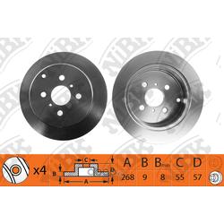 Диск тормозной задний (NiBK) RN1308