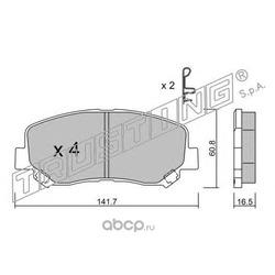 Комплект тормозных колодок, дисковый тормоз (Trusting) 9850