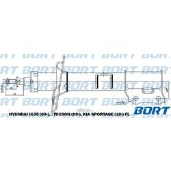 Стойка амортизационная газомасляная, передняя левая (BORT) G22250200L