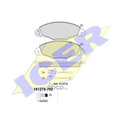 Комплект тормозных колодок, дисковый тормоз (Icer) 181278702