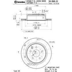 Тормозной диск (Brembo) 09896920