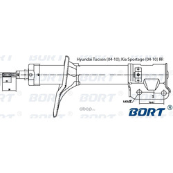 Стойка амортизационная газомасляная задняя правая (BORT) G22254012R