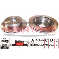 Торм. диск задний вент. Opel Antara 06- 303x20x5 (NAKAYAMA) Q4671