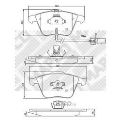 Комплект тормозных колодок, дисковый тормоз (Mapco) 6792